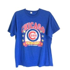 Vintage   1989 Chicago Cubs Graphic Blue Tee Rare